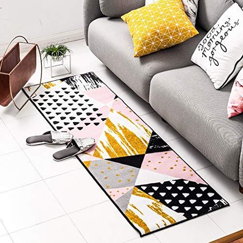 GCCI Teppich Küche Teppich Schlafzimmer Nachtdecke Nordic Einfache Gestreifte Teppich Eingangstür Matte,80 * 120 cm