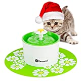 Hommii AUTOMATICO Gatto Fiore Potabile Fontana Flower Sytle Automatic Electric 1.6 L Pet Water Fountain Drinking Bowl with mat Green