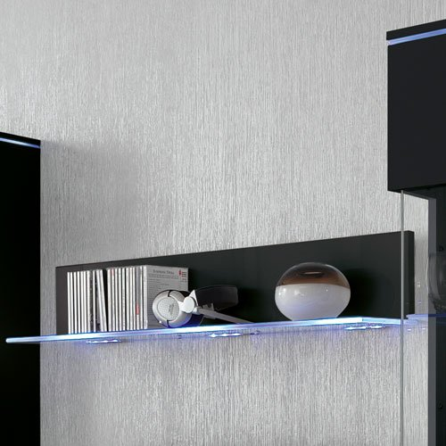 Anbauwand 5-tlg. Hochglanz Schwarz, 2 x TV-Element B: 110 cm, 2 x Hängevitrine B: 50 cm, Glasbodenpaneel B: 100 cm, Mindestb.: 230 cm, Tiefe: 42 cm - 4