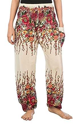 Lofbaz Damen Haremshose mit gesmoktem Bund Blumendruck Elfenbein S