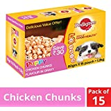 Pedigree Puppy Wet Dog Food, Chicken Chunks in Gravy, 80g (Pack of 15)