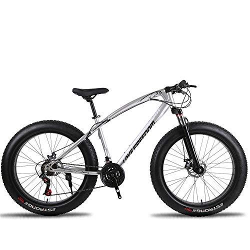 DRAKE18 Fat Bike, 26 Pulgadas Cross Country Mountain Mountain 27 Speed Beach Snow Mountain 4.0 neumáticos Grandes Adultos al Aire Libre,Silver