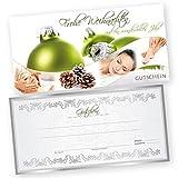 50 Weihnachtsgutscheine Gutscheinkarten XMAS GREEN KOSMETIK mit weißtransparenten Umschlägen für Kosmetikstudio Gutscheine Geschenkgutscheine
