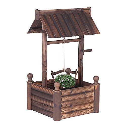 iKayaa Dekobrunnen Holzbrunnen Zierbrunnen Brunnen Gartenbrunnen aus Holz mit Dach