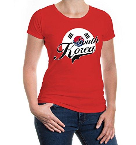 buXsbaum® Girlie T-Shirt Südkorea-Logo Red-z-direct