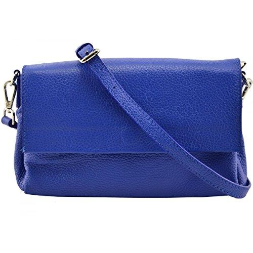 Pochette Pour Femme En Cuir Véritable Couleur Bleue - Maroquinerie Fait En Italie - Sac Femme