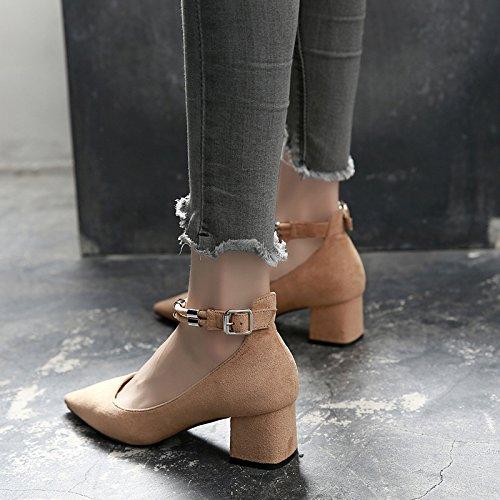 Sharp scarpe primavera Shoeshaoge autunno uomo scarpe casual da fibbia da parola scarpe tacco e una unita Tinta donna con tacco fqwptp