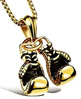Doitory Men Stainless Steel Golden Boxing Gloves Chain Pendant Necklace(Golden)