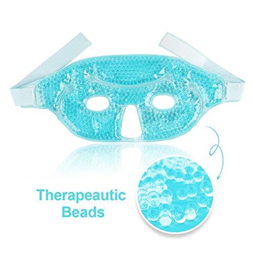 Kalten Gel-augenmaske (Gel-Augenmaske Kalte Gesichtsmaske Flexible Gel-Perlen mit weichem Plüschrücken, Hot Eye Compress für Schwellungen, nach Operation, Entspannung, empfindlich, trocken juckend - blau)