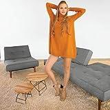 lounge-zone Innovation SPLITBACK Wood Schlafsofa, Stoff Dunkelgrau, 210cm