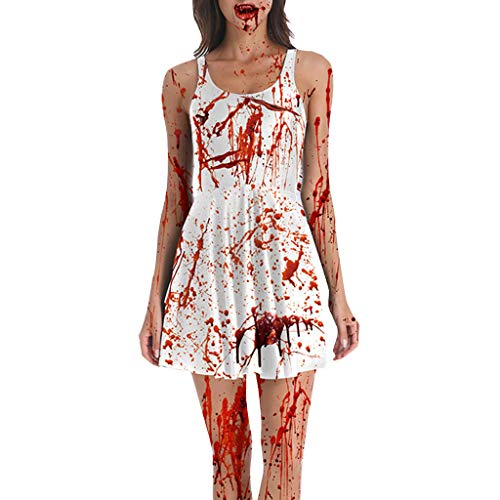 Kleider Damen Zombie Kostüm Kleid Halloween Cosplay Piebo Frauen Vintage Ärmelloses Minikleid Bodycon Dress Cocktail Bloodstain Drucken Oktoberfest Weihnachten Festliche Karneval Partykleid