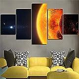 FJLOVE Bild auf Leinwand Aurora Scenery Skyline Sea und Galaxy of Earth Sun Moon Landscape 5 Teile Wandbilder Deko Kunstdrucke,B,100x50cm