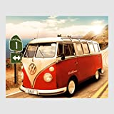 Kunstdruck Poster - Volkswagen VW Bulli Bus Camper Red Rot Route 1 California Kalifornien 40 x 50 cm Poster, Bild, Cliprahmen optional, hier ohne Rahmen