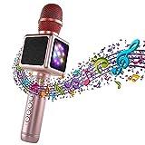 XWEM Bluetooth-Mikrofon, Bluetooth 4.2 Handkaraoke Kind Erwachsene tragbar, mit Familienfeier KTV Outdoor-Lautsprecher Support iPhone/Android Smartphone