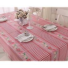 Vinylla - Mantel para mesa de tela de guinga (PVC, de fácil limpieza), diseño de cuadros y rosas, color rojo - 140x240cm