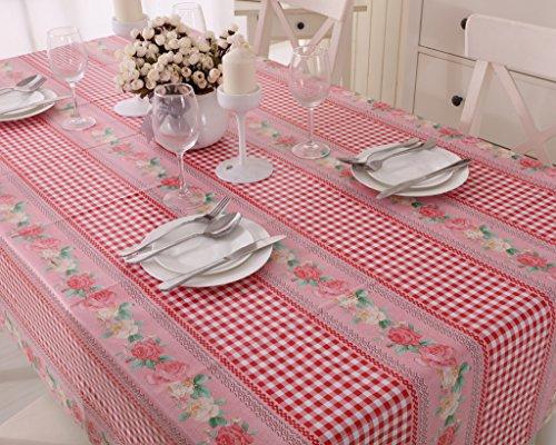 Vinylla Nappe en toile cirée/PVC facile à nettoyer Motif à carreaux rouge Gingham et roses - Round(Dia.160cm)