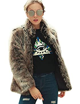 [Patrocinado]VLUNT Abrigo de Piel Chaqueta de Ocio Ropa Collar Pelo Abrigo Invierno Escudo Mangas Largas Abrigo (Raya)