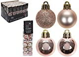 Pack Of 32 - 3.5cm Rose Gold Christmas Tree Baubles - Shiny Matte & Glitter Design - Christmas Decorations