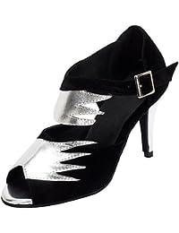 T.T-Q Zapatos de Baile de Mujer de Oro Plateado Cuero sintético Flocking Heels Sandalias Latinas Profesionales...