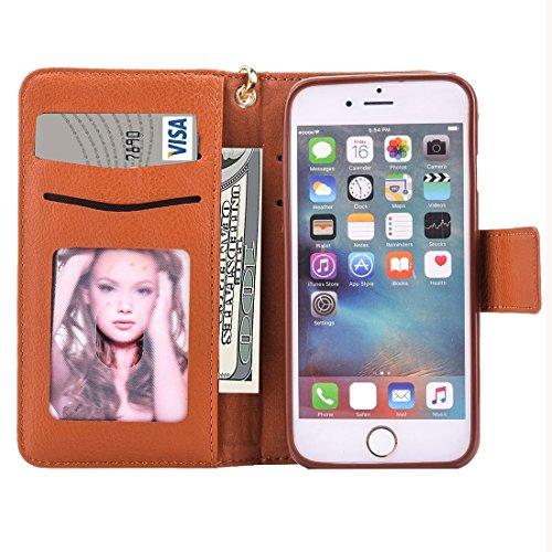 Wkae Case Cover Für iPhone 6 &6s Geschäfts-Mappen-Art Horizontal Flip-Ledertasche mit Foto-Rahmen und Halter &Karten-Slots &Lanyard ( Color : Brown ) braun