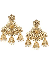 The Luxor American Diamond Traditional Gold Plated Pearl Stylish Party Wear Chandbali Jhumki Earrings For Girls...