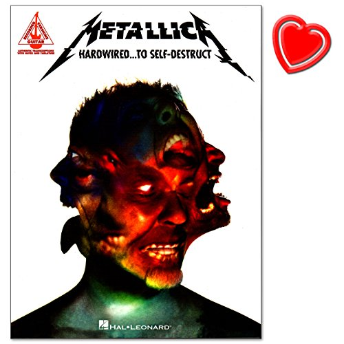 Metallica – Hardw Ired... To Self de Dest ruct – komponiert de mat schof ield – Série : Guitar Recorded Version – SONGBOOK (Vocal/Guitar/Tab/Rock Score) avec cœur coloré Note Pince