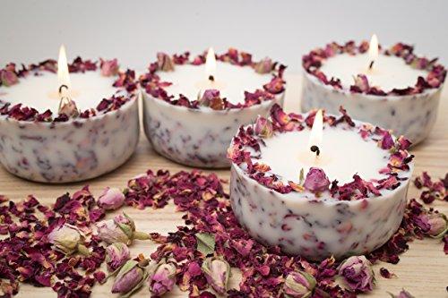 Duftkerze Soja Echte Rote Rosen Geschenk Valentinstag Kerze aus Bio Sojawachs ätherisches Öl lange Brenndauer - 4