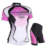 Nuckily Damen-Fahrradtrikot Passende Gepolsterte Kurz Sweet Girl Radbekleidung Medium rose