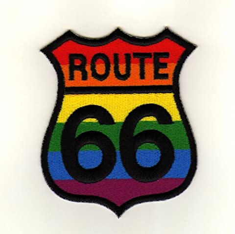 Route 66Biker Sew-On Badge/Iron-On Patch USA Rainbow
