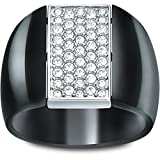 Anello Swarovski modello Aware nero reversibile con cristalli nei da un lato e trasparenti dall'altro lato taglia 52 S piccola 5032841