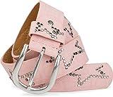 styleBREAKER Nietengürtel mit dezentem Stern Nieten Design und Schlangen Print im Vintage Look, kürzbar, Unisex 03010054, Farbe:Rosa;Größe:95cm