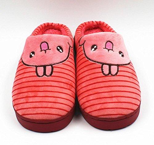 DMMSS Les Hommes Et Les Femmes D'Automne Et D'Hiver Coton Pantoufles Paquet Intérieur Avec Non - Glissement Pantoufles Chaussures À La Maison De Laine Chaussures Souples Chaussures Chaudes plum red