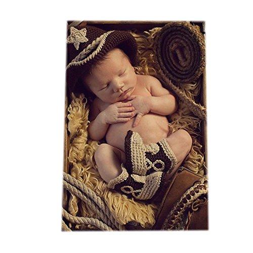 Fashion Neugeborene Jungen Mädchen Baby Kostüm gestrickt Fotografie Requisiten Cowboy Hat Hose