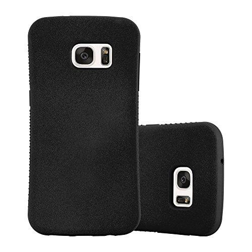 Cadorabo Hülle für Samsung Galaxy S7 - Hülle in Mineral SCHWARZ - Small Waist Handyhülle mit rutschfestem Gummi-Rücken - Hard Case TPU Silikon Schutzhülle Gummi Hard Case Cover