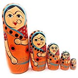 Craft Hand Traditional Indian Nesting Wooden Doll/ Hand Painted Matryoshka Stacking Dolls- Set Of 5 Piece (Lady In Orange Saree)