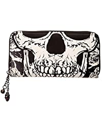 b76bdbdec637 BANNED Clothing Black Wallet Purse SKULL FACE Skeleton Punk Goth Gift