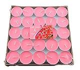 CAOLATOR 50 Stück Teelicht Set Rund Form Romantische Hochzeit Herz Kerzen für Vorschlag, Hochzeit, Party (Rosa)