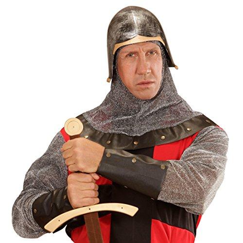 Amakando Ritterhelm Mittelatler Helm Kreuzritter Haube Burgherr Kopfbedeckung Wächter Kopfschutz Karneval Kostüm Zubehör Mittelalter Fest