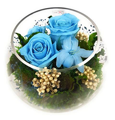 Rosen-Te-Amo Echte Konservierte Blumen Gesteck im Bowl Vase - aus 4 haltbare Blumen 3 Jahre haltbar ohne Wasser - handgemachtes Geschenk für Muttertag -