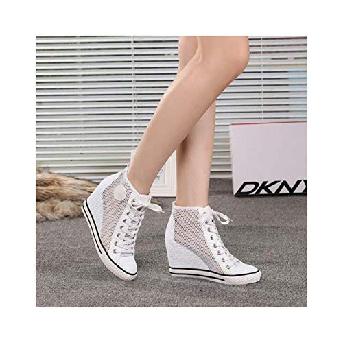 Ladies Mesh Hollow Out Sneakers Sport Shoes Canvas Hidden Lace Up High Hot Wedge White EUR40=US9=UK7 Canvas Wedge Sneakers