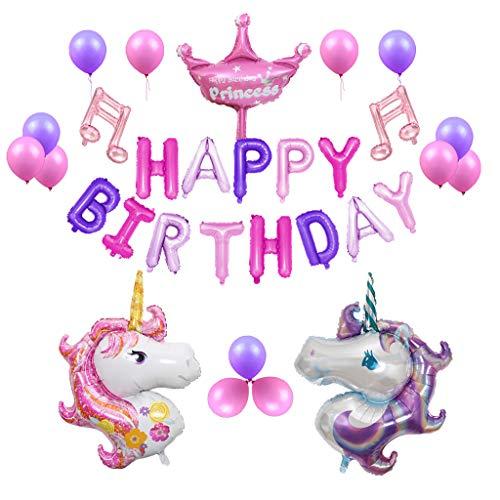 Amycute Einhorn Party Dekoration Happy Birthday Girlande Einhorn Luftballon Deko Party Zubehör Kinder Geburtstag Set,Geschenk für Mädchen Boy Kids.