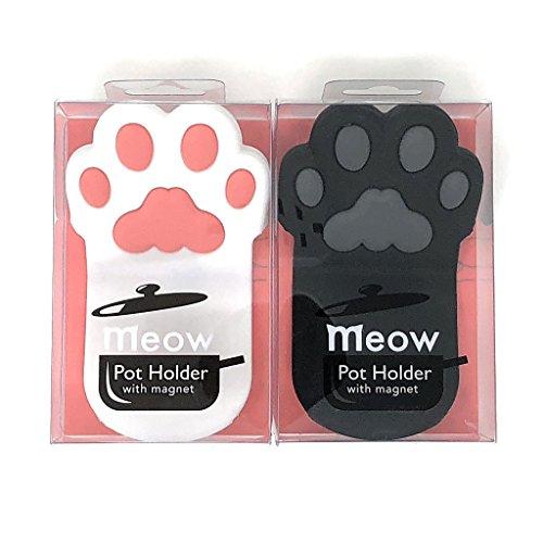 Cat Paw Silikon Topflappen mit Magnet, Schwarz und Weiß Pfoten (2Griff B & W Set)