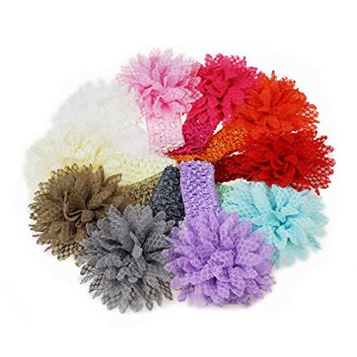FAVOLOOK 10 stücke Baby Mädchen Elastische Stirnbänder Blumen Weiche Haarband Schöne Headwear Set Haarschmuck für Fotos Fotografie Geburtstagsfeier von TheBigThumb, Multi