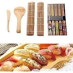 Sushi Mat Strumento per la preparazione di sushi Kit di bambù per la casa Ufficio Fatti in casa Super Easy Gadget fai da te -13 pezzi / set
