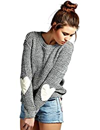 ZKOO Mujeres Jerseys de Manga Larga Corazón Parche Prendas de Punto Suéter Jerséy Pullover Señoras Otoño e Invierno