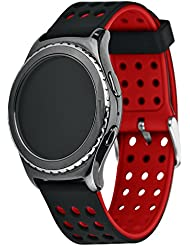 Greatfine Soft Silicone Replacement Sport 20mm Band Correa para Samsung Galaxy Gear s2 Classic SM-R7320 / Motorola Moto 360 2 42mm / Garmin Vivomove Sport / Garmin Vivomove Classic / Huawei Watch 2 Smart Watch (negro+rojo)