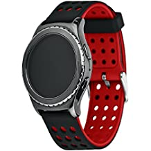Greatfine Soft Silicone Replacement Sport 20mm Band Correa para Samsung Galaxy Gear s2 Classic SM-R7320 / Motorola Moto 360 2 42mm / Huawei Watch 2 Smart Watch/Samsung Gear Sport (Negro+Rojo)