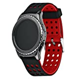 Greatfine Remplacement en Silicone Classic Band Smartwatch Bracelet pour Samsung Galaxy S2 Classic SM-R732 / Motorola Moto 360 2ème Génération 42mm, Huawei Watch 2, Samsung Gear Sport (Black Red)