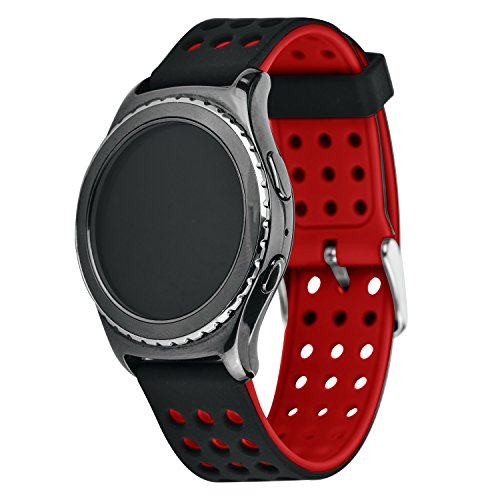 Greatfine Remplacement en Silicone Classic Band Smartwatch Bracelet pour Samsung Galaxy S2 Classic SM-R732 / Motorola Moto 360 2ème Génération 42mm, Huawei Watch 2 (Black Red)