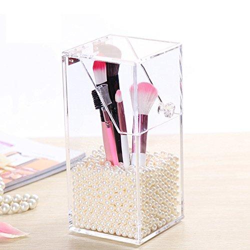 New Acrylic makeup Brush Holder organizer rossetto Puff cassetto contenitore antipolvere con libero perle